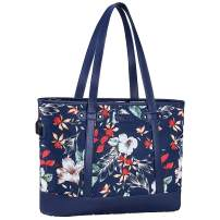 MOSISO USB Port Laptop Tote Bag (Up to 17.3 inch),Laptop Bag for Women Canvas&PU Leather Work Business Travel Shopping Handbag with 3 Compartments Compatible with MacBook&Notebook, Petunia Navy Base