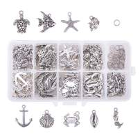 PH PandaHall 180pcs 9 Styles Seaside Ocean Charms with 50pcs Jump Rings Starfish Ocean Fish Seashell Marine Animal Anchor Pendants Beads for Wakiki Hawaii Necklace Bracelet Jewelry Making