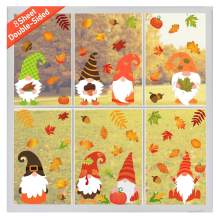 Eseres 8 Sheets Thanksgiving Decor Window Clings, Window Stickers Decals Cartoon Turkey Fall Maple Leaves Pumpkin Acorn Corn for Autumn Harvest Festival Seasonal Decorations