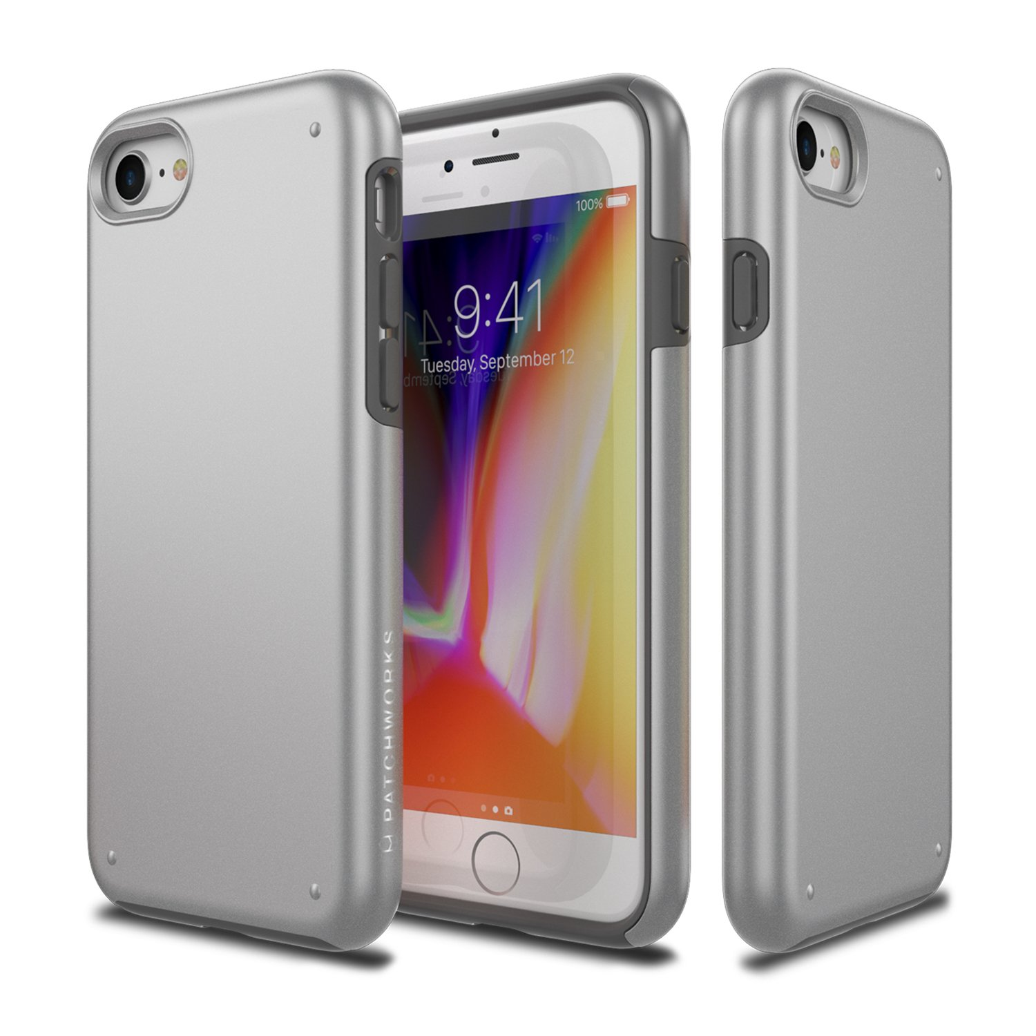 iPhone 8 Case, Patchworks [Chroma Series] Hybrid Soft Inner TPU Hard Matte Finish PC Back Cover Military Grade Drop Tested Dual Layer Case for iPhone 8 / iPhone 7 - Silver