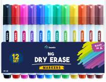 Dry Erase Markers, Bullet Tip – Colored Whiteboard Markers for Fridge, School or Office - Low Odor, 12 Set Assorted Colors