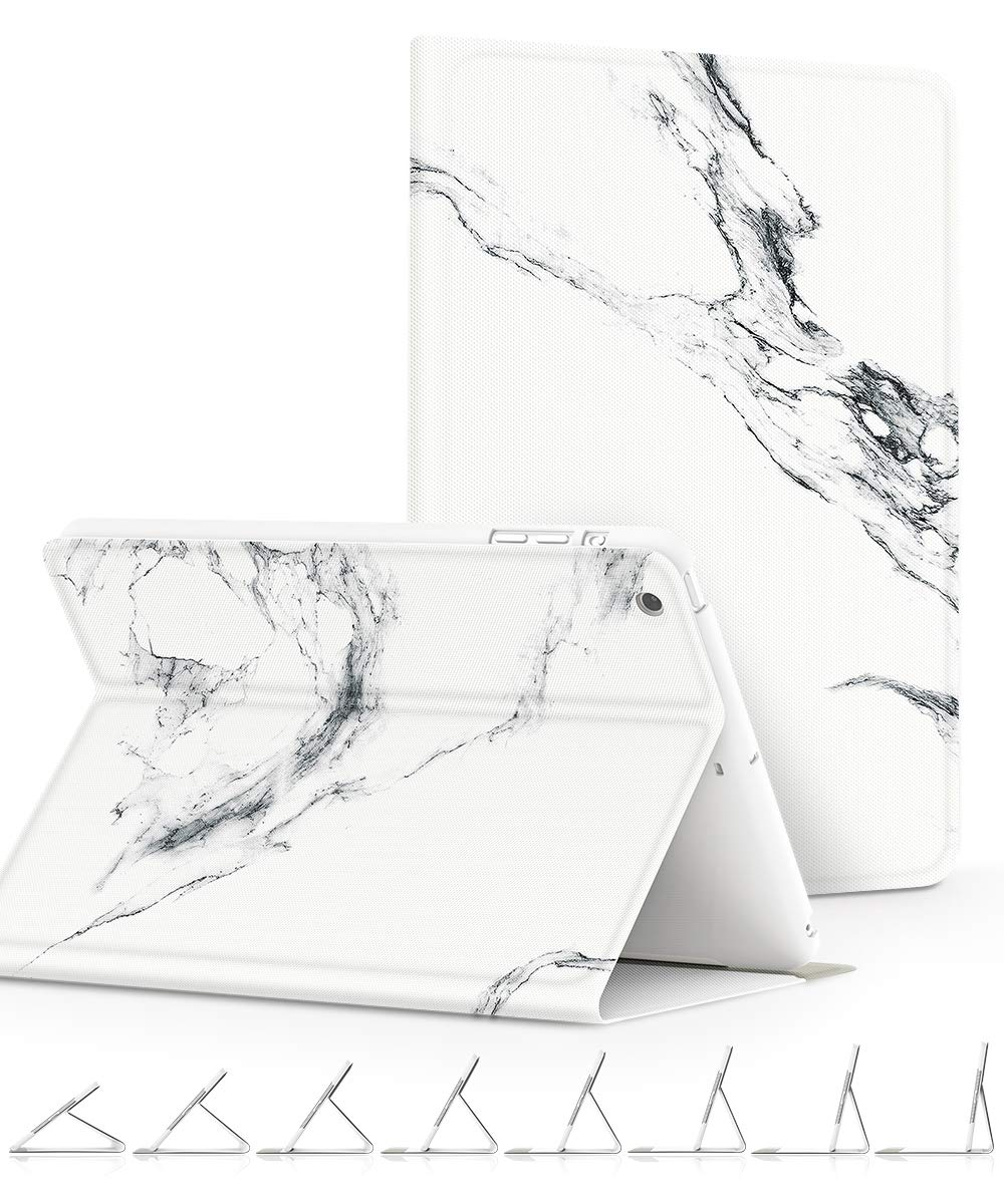 GVIEWIN Compatible for iPad Mini 1/2/3 Case, Slim Fit Cover Marble Series Adjustable Multiple Stand Angles with Auto Sleep/Wake, All Round Protect Cover for iPad Mini 1/2/3 (Marble/White)