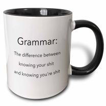 3dRose Grammar The Difference Knowing Youre Shit Two Tone Mug, 11 oz, Black/White