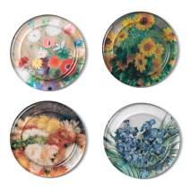 The Metropolitan Museum of Art Floral Glass Drink Coasters, Felt Backing, Set of 4