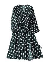 Romwe Women's Plus Elegant Vintage Polka Dot Surplice Midi Dress Flare Flowy Party Dress