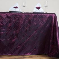 BalsaCircle 90x156-Inch Burgundy Rectangle Pintuck Taffeta Tablecloth Table Cover Linens for Wedding Party Kitchen Dining Events