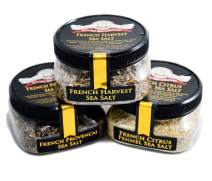 French Grey Sea Salt Blends 3-Pack: French Provencal, French Harvest, French Citrus Fennel - All-Natural Grey Sea Salts Harvested from Bretagne, France - No Gluten, No MSG, Non-GMO (12 total oz.)