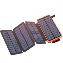 Solar Charger 25000mAh, IXNINE Solar Power Bank with 4 Solar Panel Charger & 2 USB Output, External Battery Pack Ultra Bright LED Flashlights for Outdoor Camping(Waterproof, Shockproof)