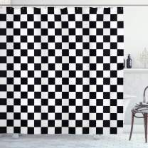"""Ambesonne Checkers Game Shower Curtain, Geometric Grid Style Monochrome Squares in Traditional Game Board Design, Cloth Fabric Bathroom Decor Set with Hooks, 75"""" Long, White and Black"""