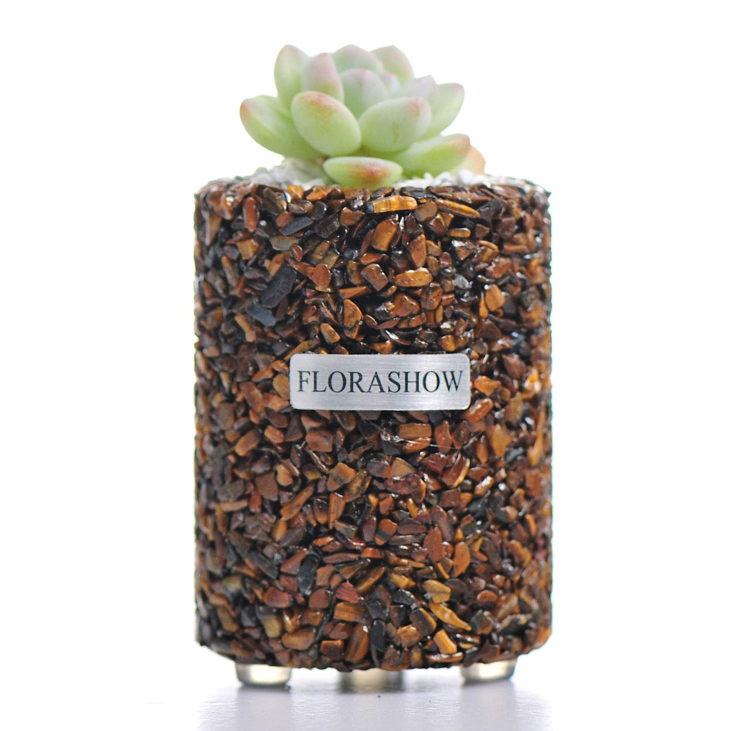 FLORASHOW Tumbled Stones Succulent Pots - Tiger's Eye 2.63 inch Mini Succulent Planter, Great for Reiki Healing Home Decorations, Suitable for Succulents, Cactus, Smaller Plants and More