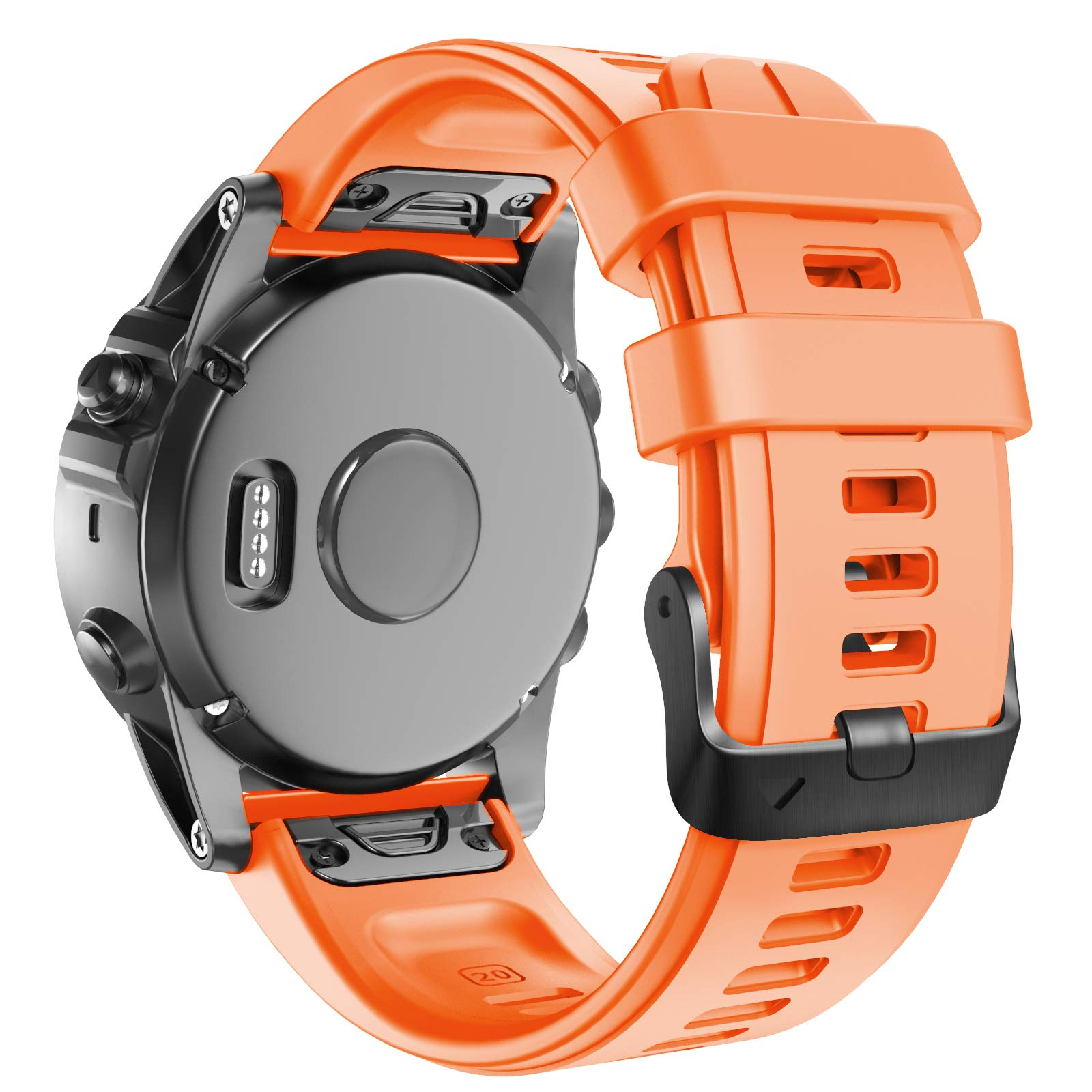 ANCOOL Compatible with Fenix 5S Plus Bands 20mm Width Easy Fit Soft Silicone Watch Bands Replacement for Fenix 6S/Fenix 6S Pro/Fenix 5S Smartwatches, Orange