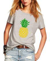 Romastory Women's Summer Casual T-Shirts Pineapple Print Short Sleeve Tops Shirts