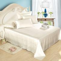 LilySilk 4pc Silk Sheet Set Full Size 25 Momme, 100 Real Raw Mulberry Silk Sheets for Women - Men Night Sleep Ivory Silk Sheets Full