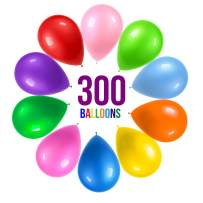 Prextex 300 Party Balloons 12 Inch 10 Assorted Rainbow Colors - Bulk Pack of Strong Latex Balloons for Party Decorations, Birthday Parties Supplies or Arch Decor - Helium Quality