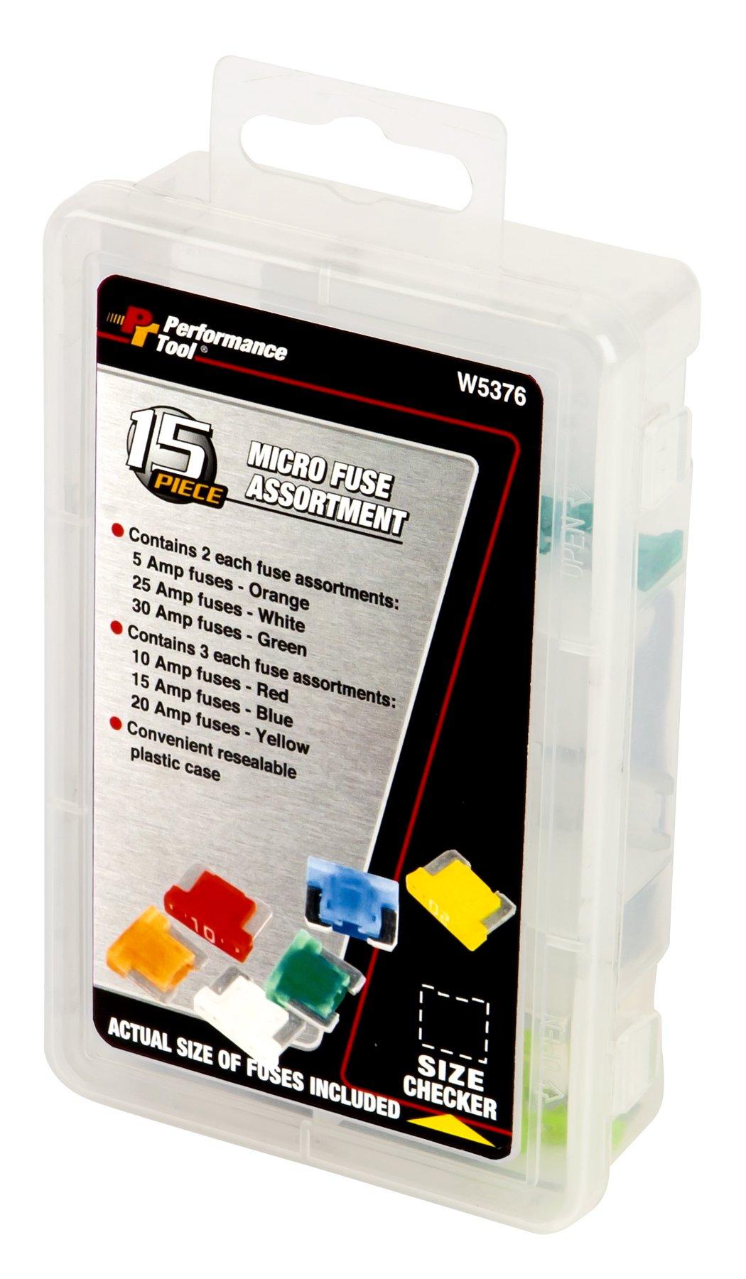 Performance Tool W5376 15-Piece Micro Fuse Assortment