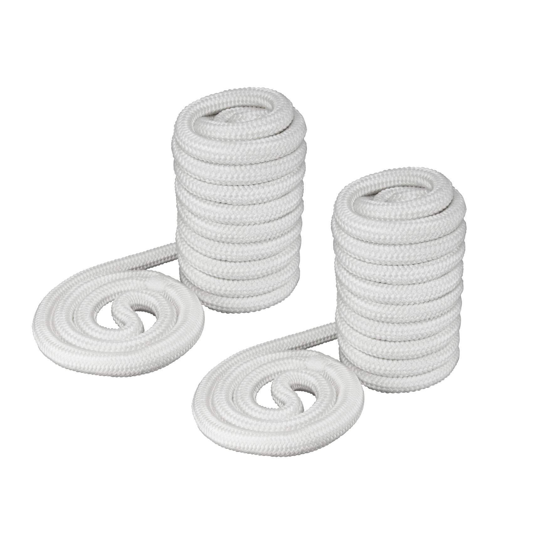 Norestar Set of Two Marine Double Braided Nylon Dock Lines for Boat, White