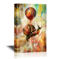 wall26 - Canvas Wall Art - Vintage Style Snailed Lifted in The Sky by a Balloon - Gallery Wrap Modern Home Decor | Ready to Hang - 32x48 inches