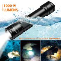 ORCATORCH D520 Scuba Dive Light 1000 Lumens Rechargeable Night Diving Torch LED Diving Light Underwater 150m Scuba Safety Lights with 2 x 18650 Battery and Charger