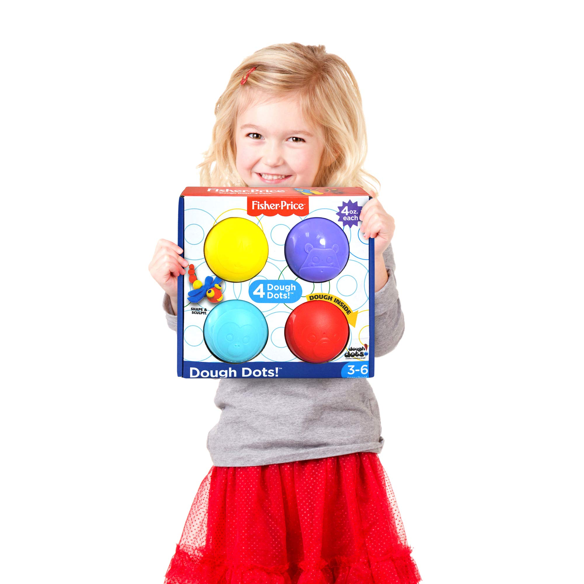 Dough Dots! Playdough Set Modeling Magic Clay Travel Toy Kit Playsets for Kids with Non-Toxic and Child Safe Creative Tools Press 4oz Dots (4 - Pack)
