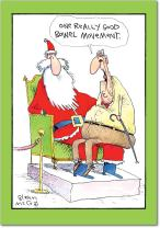 Box of 12 'One Good BM Boxed Christmas' Hilarious Greeting Cards 4.75 x 6.625 Inch, Merry Xmas Note Cards with Old Age Humor Cartoon, Stationery for Elderly, Parents, Grandparents w/Envelopes B1558