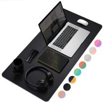 """Office Desk Pad, Ultra Thin Waterproof PU Leather Mouse Pad, Dual Use Desk Writing Mat for Office/Home (31.5"""" x 15.7"""", Black)"""