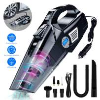 4 in 1 Portable Auto Car Vacuum Cleaner Air Compressor Tire inflator, Digital Tire Pressure Gauge with 12V LED Light for Car Use Only, Wet/Dry Use, 10FT Power Cord