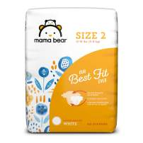 Amazon Brand - Mama Bear Best Fit Diapers Size 2, 46 Count, White Print [Packaging May Vary]