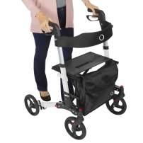 Vive Mobility Rollator Walker - Folding 4 Wheel Medical Rolling Walker with Seat & Bag - Aid for Adult, Senior, Elderly & Handicap - Aluminum Transport Chair (White)