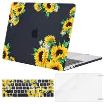 MOSISO MacBook Pro 13 inch Case 2019 2018 2017 2016 Release A2159 A1989 A1706 A1708, Plastic Pattern Hard Shell & Keyboard Cover & Screen Protector Compatible with MacBook Pro 13, Sunflower Black Base