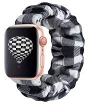 KraftyChix Cute Scrunchie Elastic Watch Band Compatible for Apple Watch, Soft and Fashion Elastic Strap Compatible with Iwatch 38mm 40mm / 42mm 44mm Series 1-4 (White Plaid, 42mm/44mm)