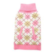 kyeese Dog Sweater Plaid with Leash Hole Pullover Thicken Dog Sweaters Turtleneck Knitwear Warm Pet Sweaters for Fall Winter