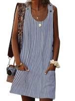 Yobecho Womens Summer Crew Neck Sleeveless Printing Casual Mini Hawaiian Dress with Pockets Black
