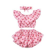 Toddler Kids Baby Girl Floral Halter Ruffled Crop Tops + Bloomer Shorts 2PCS Outfits Clothes Set