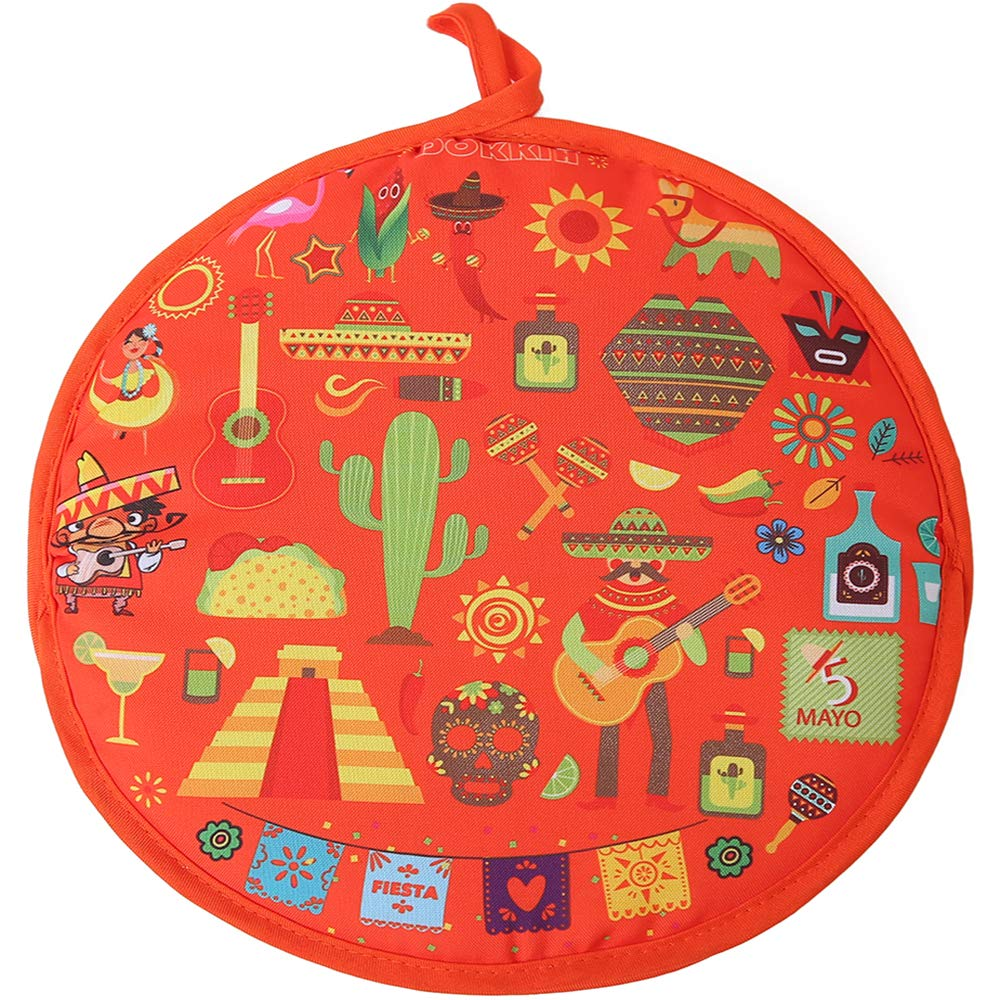 DOKKIA Tortilla Warmer Taco 12 Inch Insulated Cloth Pouch - Microwavable Use Fabric Bag to Keep Food Warm (12 Inch, Sombrero Salsa Tequila Papel Picado Pinata)
