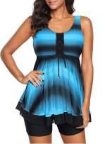 Actloe 2020 Womens Two Piece Swimsuit Tie Dye Ombre Swimdress Tankini Set