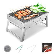 Sunkorto 15.4x10.6x8 Inch Folded Charcoal BBQ Grill Set, Stainless Steel Portable Folding Charcoal Barbecue Grill, Barbecue Tool Kits for Outdoor Picnic Patio Backyard Camping Cooking