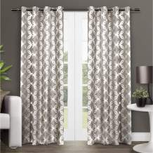 Exclusive Home Curtains Modo Metallic Geometric Window Curtain Panel Pair with Grommet Top, 54x84, Natural, 2 Count