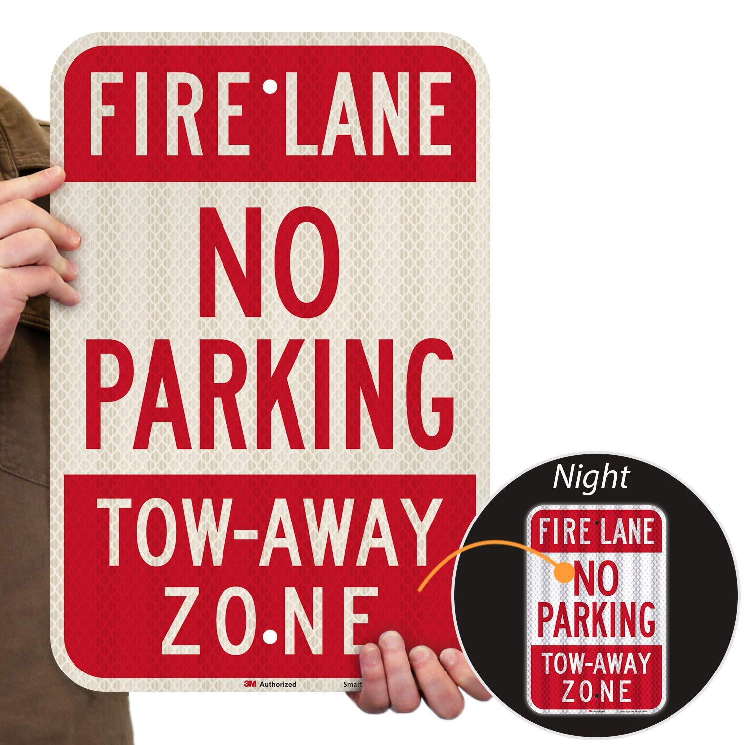"""""""Fire Lane - No Parking, Tow-Away Zone"""" Sign By SmartSign   12"""" x 18"""" 3M High Intensity Grade Reflective Aluminum"""