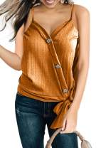 Shawhuwa Womens V Neck Button Down Strappy Tank Tops Sleeveless Loose Casual Shirts Blouses