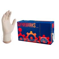 Ammex GLOVEWORKS Industrial White Latex Gloves - 4 mil, Powder Free, Textured, Disposable, Large, TLF46100-BX, Box of 100