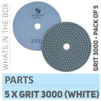 Stadea PPW248D Diamond Polishing Pads 5 Inch For Concrete Terrazzo Marble Granite Countertop Floor Wet Polishing, Grit 3000 - Pack of 5