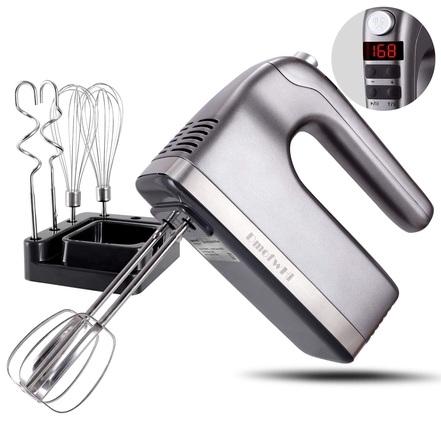 DmofwHi 9-Speed Hand Mixer Electric with Timer and Digital Screen(400W), Kitchen Handheld Mixer with Storage Case and 6 Stainless Steel Attachments