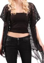 MissShorthair Womens Lace Crochet Cardigan Open Front Kimono Cover Ups