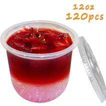 120 Pcs 12oz Plastic Cups With Flat Lids, Bulex Clear Plastic Disposable Drinking Cups, Smoothie and Iced Coffee Cups