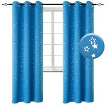 BGment Kids Blackout Curtains for Living Room - Silver Star Printed Thermal Insulated Room Darkening Grommet Curtains for Nursery, Set of 2 Panels (42 x 84 Inch, Sky Blue)
