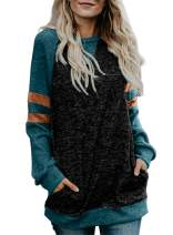 Happy Sailed Women Casual Double Hoodies Stripe Long Sleeve Cowl Neck Drawstring Pullover Sweatshirts Tops