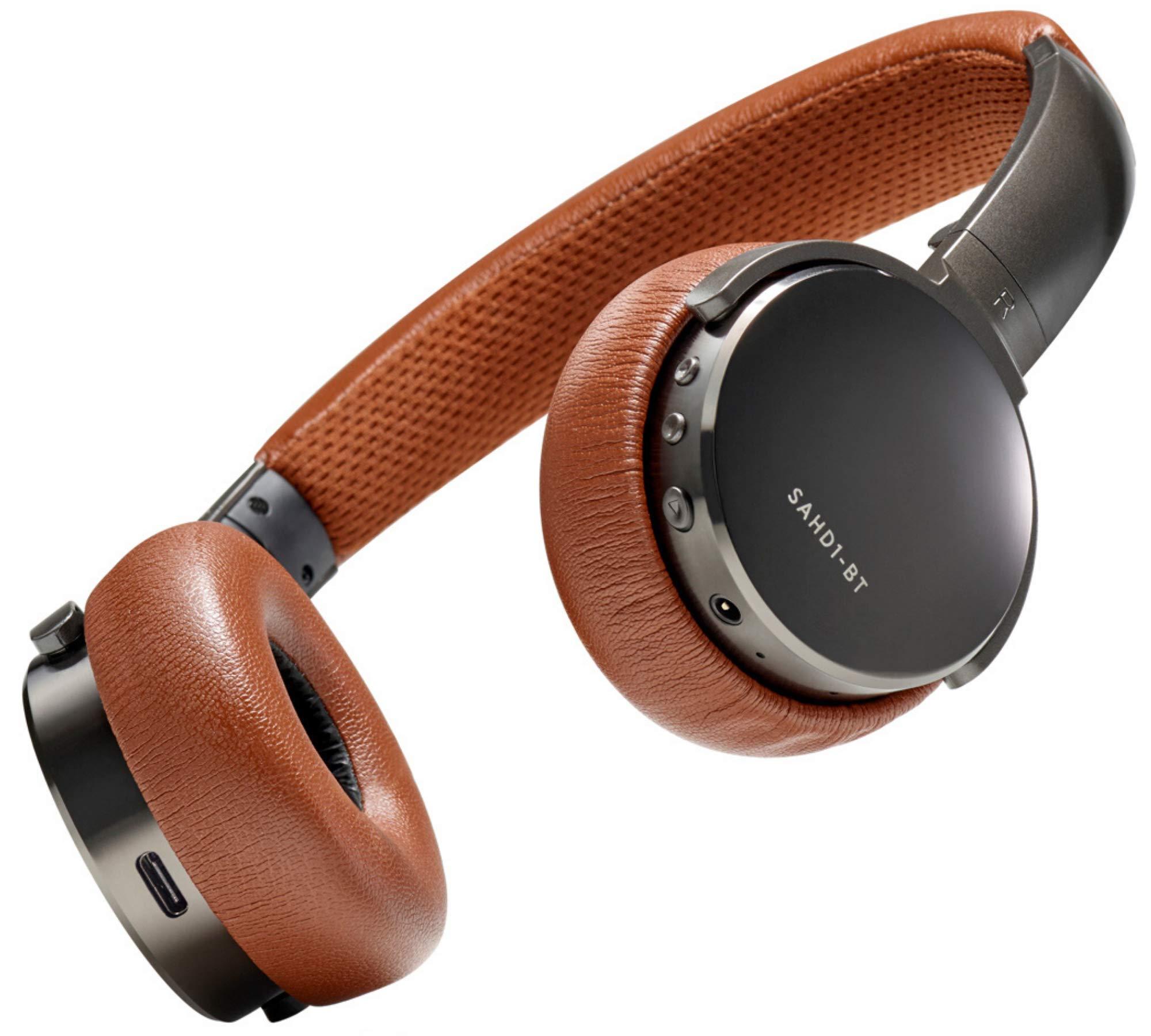Status Audio BT One Wireless On-Ear Headphones - Bluetooth 5.0. + aptX, 30 Hours of Battery, USB-C + Quick Charge, Award Winning Sound + Minimalist Metal Design, Gunmetal Grey + Brown (Umber)