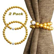 Valea Home Magnetic Curtain Tiebacks Decorative Pearl Bead Curtain Holdbacks Clips Elegant Window Draperies Rope Ties, Gold, Set of 2