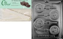 Cybrtrayd 45St25-J103 Marine Pop Jobs Chocolate Candy Mold with 25 Lollipop Sticks, 4.5-Inch