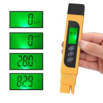 CAMWAY Digital TDS Tester Pen Portable Water Quality TDS EC Temperature Purity Meter Temp PPM Test Filter Kit 0-9990 ppm 4 Display Modes ppm, µs/cm, °F, °C -Easy to See
